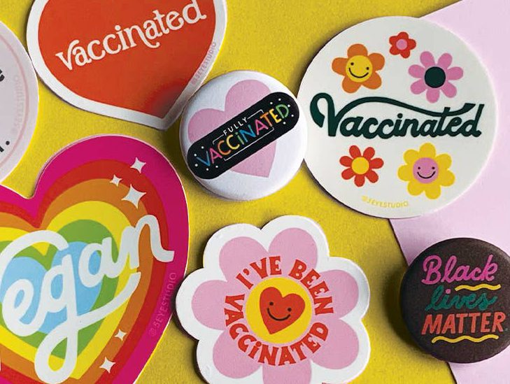 Shop wholesale accessories like vaccination pins this fall